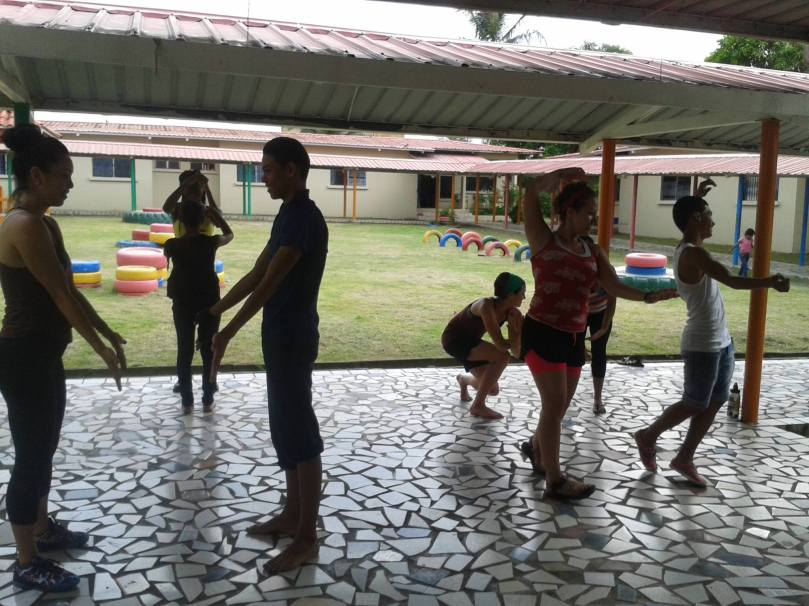 My group doing mirror partner dancing with the older kids